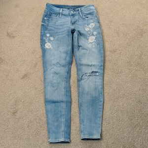 Old navy 0 petite embroidered distressed jeans